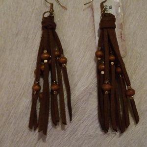 Brown leather beaded earrings